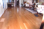 An impressive white oak living room, wide tudor with plugs - large photo